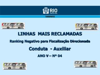LINHAS  MAIS RECLAMADAS Ranking Negativo para Fiscalização Direcionada Conduta  - Auxiliar