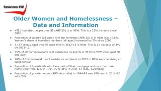Older  Women and Homelessness –Data and Information