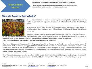 INFORMASJON TIL BEBOERNE - TOKERUDKOLLEN  BOLIGSAMEIE -  OKTOBER 2011