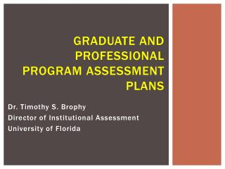 graduate  and professional program  Assessment Plans