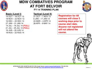 MDW COMBATIVES PROGRAM  AT FORT BELVOIR  FY  14  TRAINING PLAN