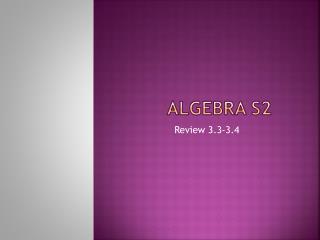 Algebra S2