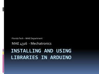 Installing and Using  Libraries in  Arduino