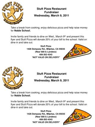 Stuft  Pizza 1426 Dempsey Rd., Milpitas, CA 95035 (Near 680 &  Landess ) 408-262-4343