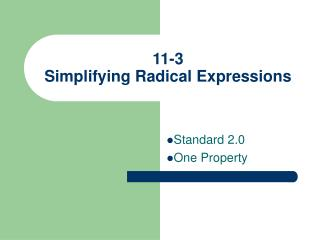 11-3 Simplifying Radical Expressions