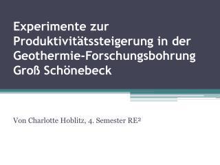 Experimente zur Produktivitätssteigerung in der  Geothermie -Forschungsbohrung Groß Schönebeck