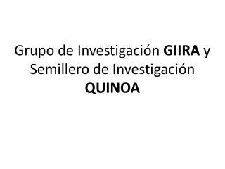 Grupo de Investigación  GIIRA  y Semillero de Investigación  QUINOA