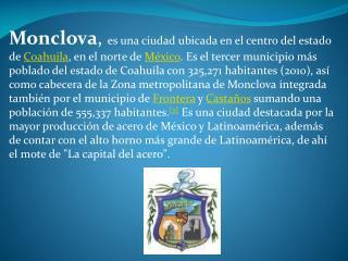 Localización Ubicación de Monclova, Coahuila.