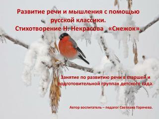 Развитие речи и мышления с помощью русской классики.  Стихотворение Н. Некрасова   «Снежок».