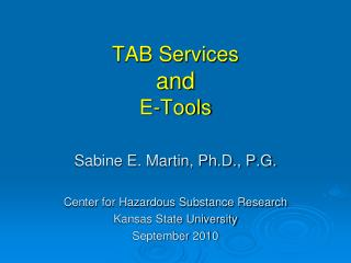 TAB Services and E-Tools