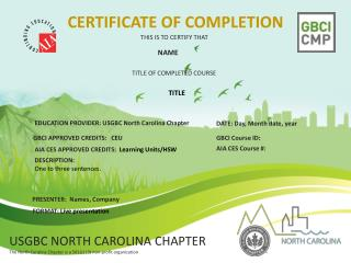 Education Provider : USGBC North Carolina Chapter