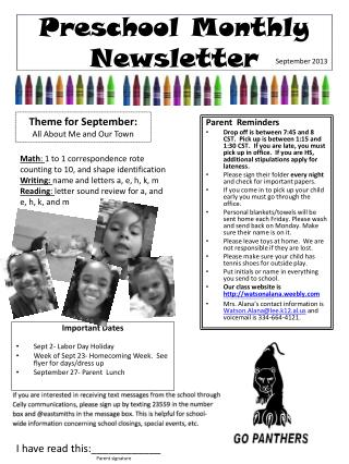 Preschool Monthly Newsletter
