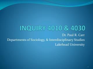 INQUIRY 4010 & 4030