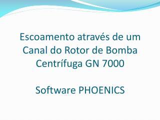Escoamento através  de um Canal do Rotor de  B omba Centrífuga  GN 7000 Software PHOENICS