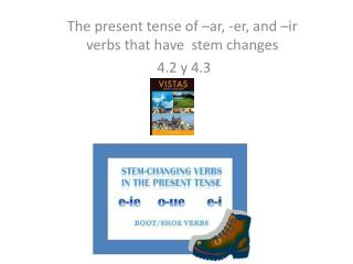 The present tense of – ar , - er , and – ir  verbs that have  stem changes  4.2 y 4.3