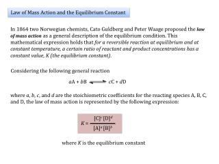 Law of Mass Action and the Equilibrium Constant