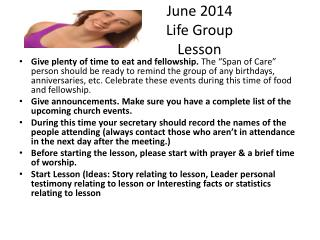 June 2014 Life Group Lesson