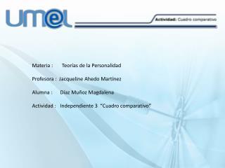 Materia :       Teorías de la Personalidad Profesora :  Jacqueline  Ahedo  Martínez