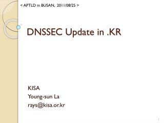 DNSSEC Update in .KR