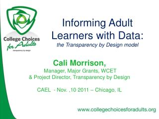 Informing Adult Learners with Data: the Transparency by Design model