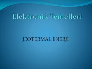 Elektronik Temelleri