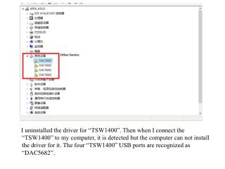 """In this case, the  """" FT_Prog """"  can not detect the  """" TSW1400 """"  neither."""