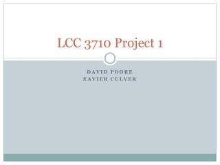 LCC 3710 Project 1
