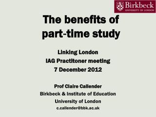 The benefits of part‐time study