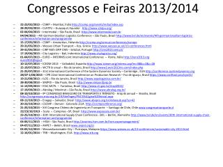 Congressos  e  Feiras 2013/2014