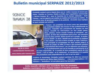Bulletin municipal SERPAIZE 2012/2013
