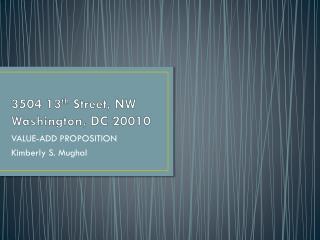 3504 13 th  Street, NW Washington, DC 20010