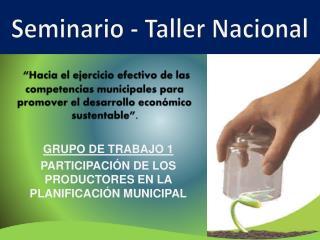 GRUPO DE TRABAJO 1   PARTICIPACIÓN DE LOS PRODUCTORES EN LA PLANIFICACIÓN MUNICIPAL