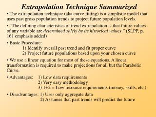 Extrapolation Technique Summarized