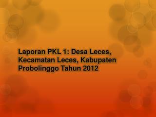 Laporan PKL 1: Desa  Leces, Kecamatan Leces, Kabupaten Probolinggo Tahun 2012