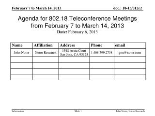 Agenda for 802.18 Teleconference Meetings from February 7 to March 14, 2013