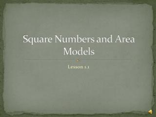 Square Numbers and Area Models