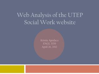Web Analysis of the UTEP Social Work website