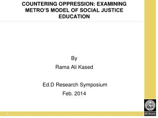 Countering Oppression: Examining Metro's Model of Social Justice Education
