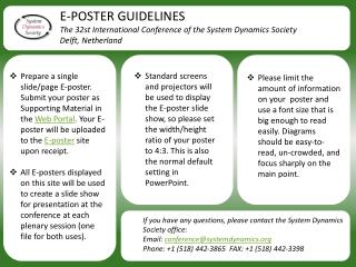 E-POSTER GUIDELINES The  32st  International Conference of the System Dynamics  Society
