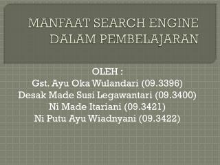 MANFAAT SEARCH ENGINE DALAM PEMBELAJARAN