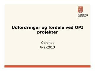 Udfordringer og fordele ved OPI projekter