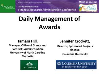 Daily Management of Awards