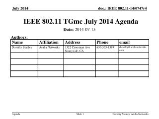IEEE 802.11  TGmc  July 2014 Agenda
