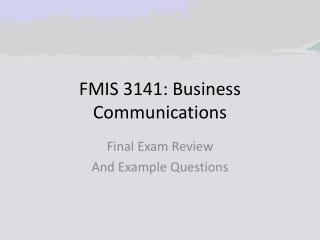 FMIS 3141: Business Communications