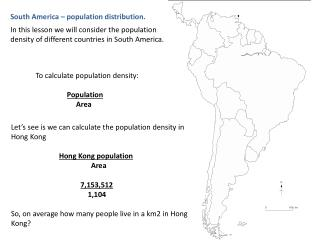 South America – population distribution.