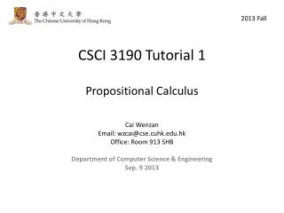 CSCI 3190 Tutorial 1 Propositional Calculus
