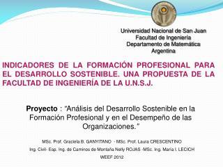MSc .  Prof. Graciela  B.  GANYITANO  -  MSc .  Prof. Laura CRESCENTINO