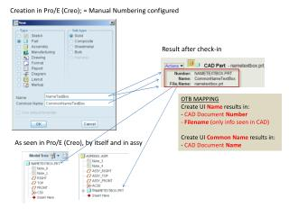 Creation in Pro/E (Creo ); =  Manual Numbering configured