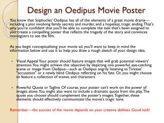 Design an Oedipus Movie Poster