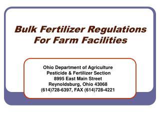 Bulk Fertilizer Regulations For Farm Facilities